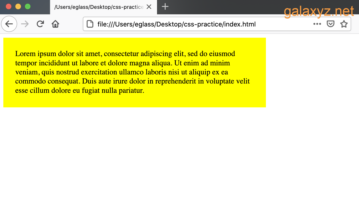 Trang web có containers  `<div>` màu vàng với chiều rộng và phần đệm được chỉ định