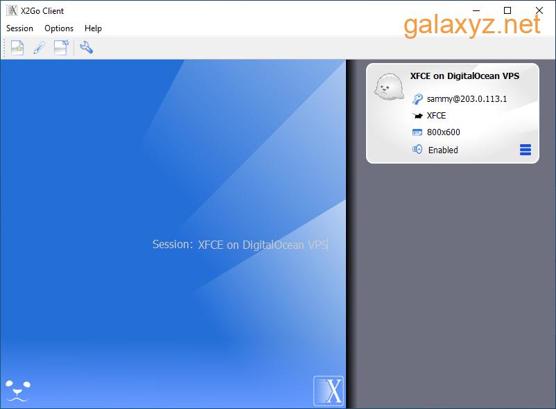 Cửa sổ chính của X2Go - Danh sách phiên
