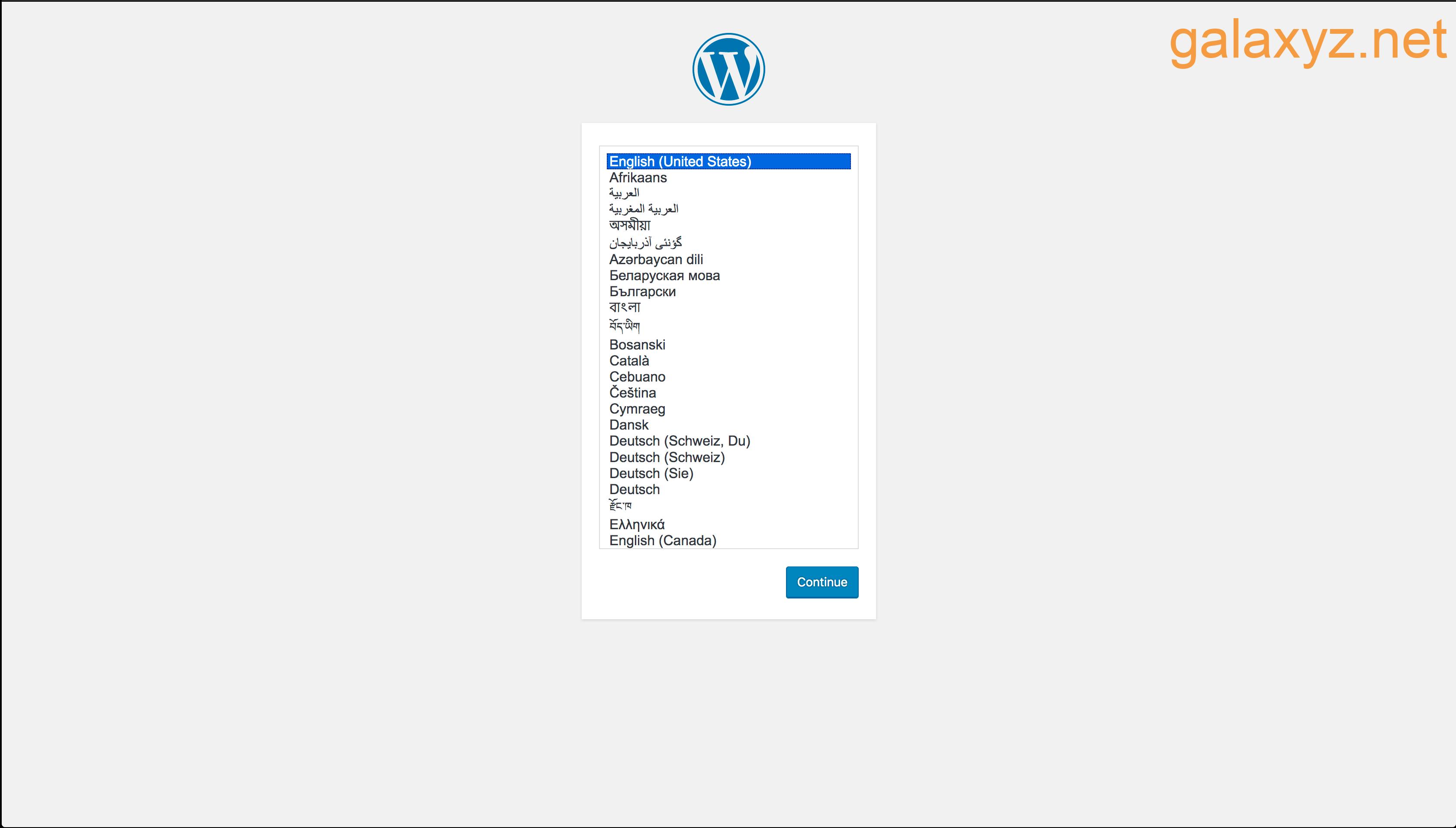 Màn hình  cài đặt  WordPress