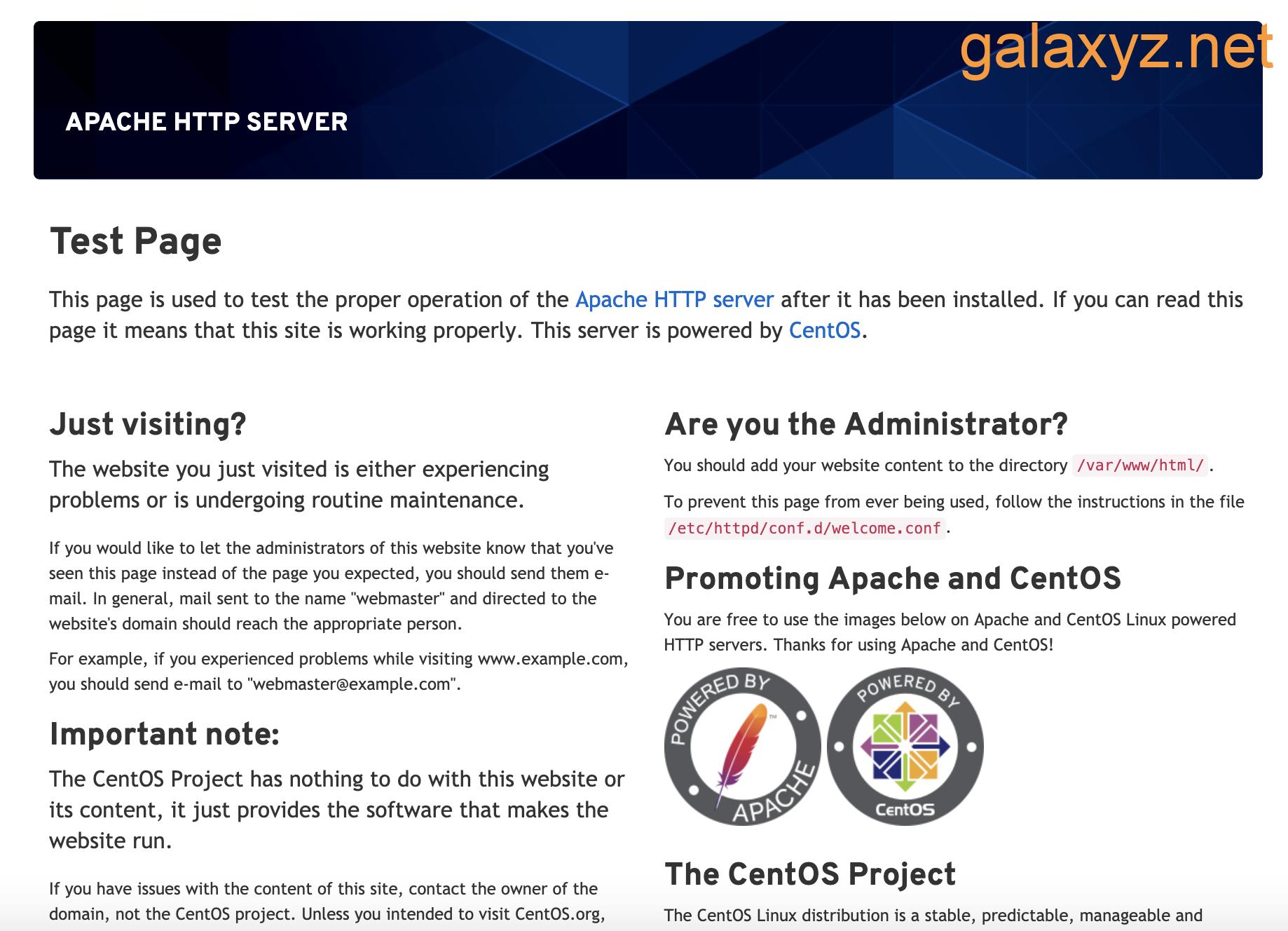 Trang Apache mặc định cho CentOS 8