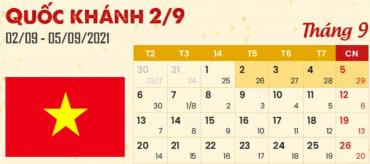 Lịch Nghỉ Lễ Quốc Khánh Mùng 2 Tháng 9 Năm 2021